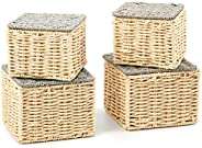 EZOWare Set of 4 Paper Rope Woven Lidded Stackable Storage Baskets, Braided Multipurpose Organizer Bins with L
