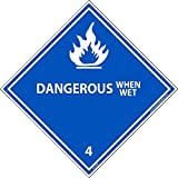 DL22ALV National Marker Dot Shipping Label, DANGEROUS When Wet 4, Inches x 4 Inches, Ps Vinyl, 500/Roll