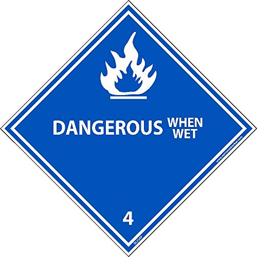 DL22ALV National Marker Dot Shipping Label, DANGEROUS When Wet 4, Inches x 4 Inches, Ps Vinyl, 500/Roll by National Marker