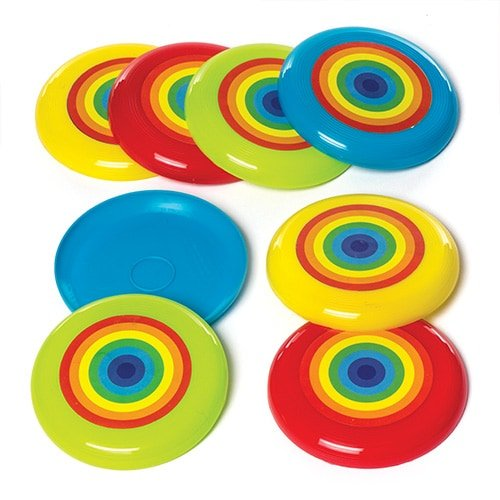 Rainbow Flying Discs (Pack of 8) for Kids Party Bag Filler (Rainbow Flying Discs)