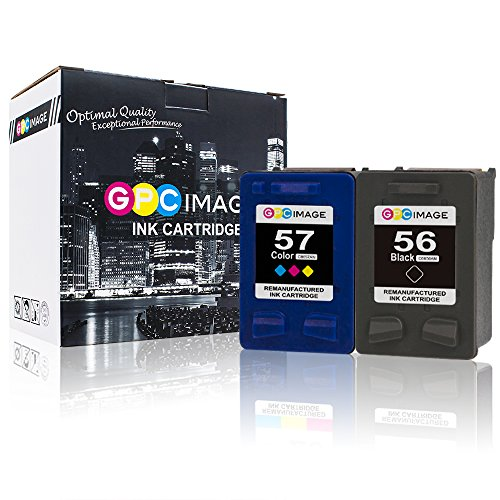 GPC Image Remanufactured Ink Cartridges Replacement for HP 56 57 C6656AN C6657AN (1 Black+1 Tri-Color) for HP Deskjet 5550 5650 5150 5850 Photosmart 7450 7260 7150 7350 7550 7660 7760 PSC 1210 Printer (56 Black Ink C6656an)