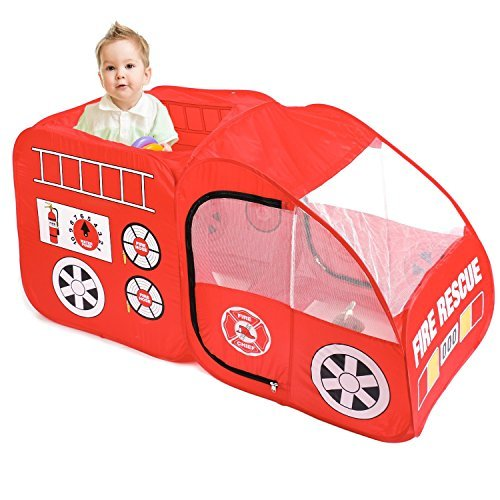 Diagtree Kids Play Tent, Fire Truck Pop Up Play Tent Indoor & Outdoor Playhouse Foldable Tent Toys for Toddlers,Boys and Girls (Red Fire Truck)