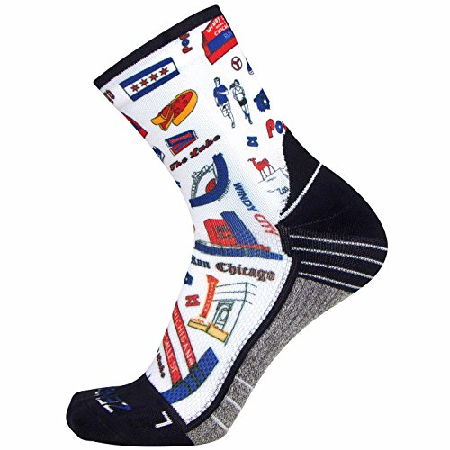 Zensah Limited Edition Running Socks - Anti-Blister Comfortable Mini-Crew Sport Socks, Moisture Wicking (Large, Chicago Doodle) -