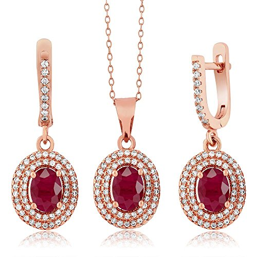 4.69 Ct Oval Red Ruby 925 Rose Gold Plated Silver Pendant Earrings Set by Gem Stone King