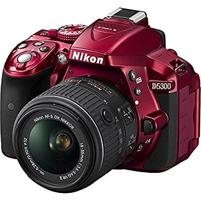 Nikon D5300 24.2 MP CMOS Digital SLR Camera with 18-55mm f/3.5-5.6G ED VR II Auto Focus-S DX NIKKOR Zoom Lens (Red) - (Certified Refurbished) from Nikon