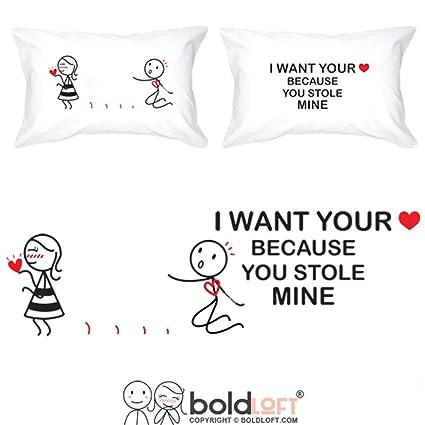 Amazon Com Boldloft You Stole My Heart Couple Pillowcases For Him