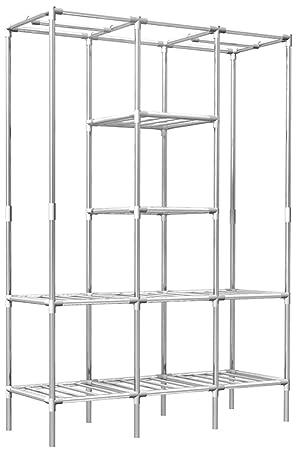 Eyepower Estantería 8 estantes con 2 percheros de Burro 178x128x44,5 cm de Metal