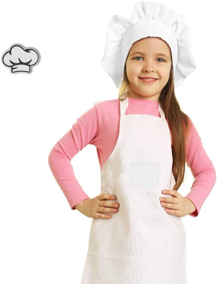 Kids Bakers Hat and Apron for Boys Girls, Chef Costume Kitchen Set for Children Cooking Baking, Personalized Apron to Decorate for Toddlers in Training (Medium 3-8Y, White)