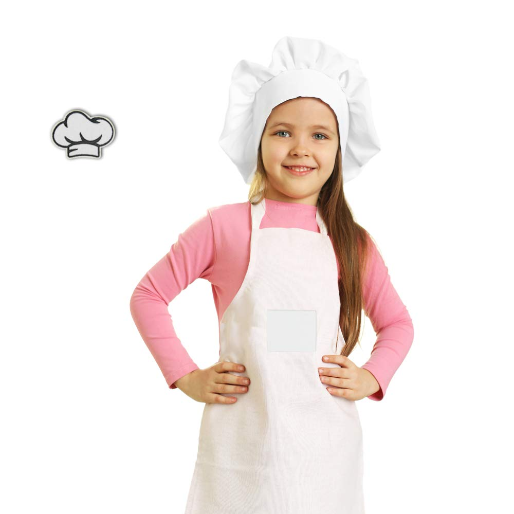 Kids Apron and Chef Hat Set,Children's Kitchen Cooking and Baking Costume,Personalized Canvas Apron with Pocket for Girls Boys(Large 9-14Y, White) by VMNlooking