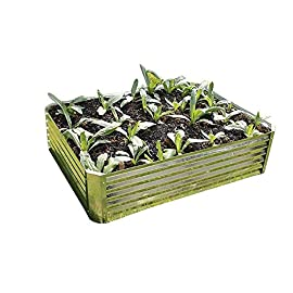 "Viagrow Galvanized Steel Raised Bed, 35"" x 35"" x 7.8"" 8 Easy To Assemble No Rust Or Rotting Less Weeding, Low Maintenance And High Yield"