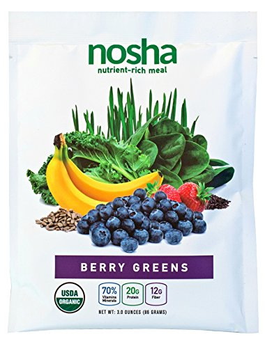 Nosha Whole Food Meal Replacement w/Nutrient-Rich Greens, Seeds, and Fruit (certified organic, vegan, gluten-free, no added sugar) - BERRY GREENS - 8 pack