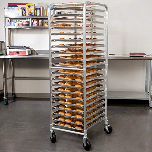 Bun Pan Rack End Load Commercial Dough 20 Pans Bakers Speed Rack Sheet Pizza Aluminum Side for Storing Trays of Food at Hospitals, Cafeterias, Or Health Care Facilities.