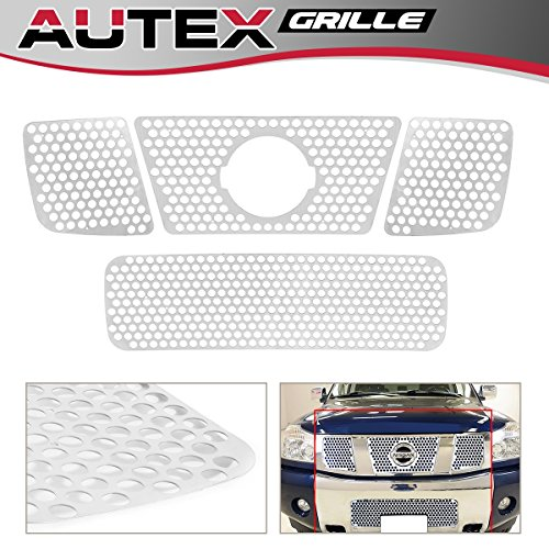 (AUTEX Stainless Steel Mesh Billet Grille Combo Insert Compatible With Nissan Titan/Armada 2004 2005 2006 2007 Grill Insert N47992O)