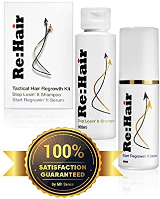 Tactical Hair Regrowth Kit; Natural Hair Serum & Shampoo For Men & Women w Thinning Hair, For New Hair Growth; Treatment Of Alopecia, Hair Loss Prevention
