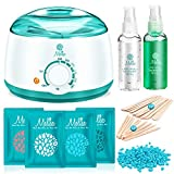 Melisa Hair Removal Kit Hot Wax Warmer Waxing Kit Wax Melts with 4 Flavor Hard Wax Beans and 20 Wax Applicator Sticks...