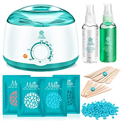 Melisa Hair Removal Kit Hot Wax Warmer Waxing Kit Wax Melts with 4 Flavor Hard Wax Beans and 20 Wax Applicator Sticks for Painless Wax of Face,Armpits,Bikini Four-limb