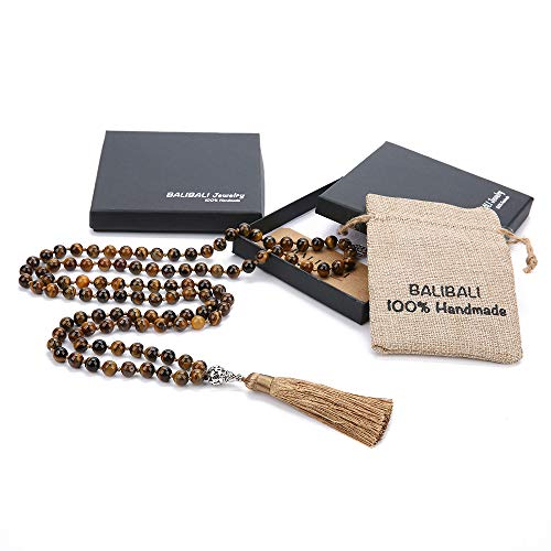 (BALIBALI 108 Mala Beads Necklace Semi-Precious Gem Stones Meditation Necklace 108 Hand Knotted Japa Mala Beaded Tassel Necklace with Tree of Life Pendant )