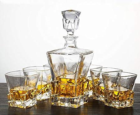 GAOXIAOMEI Set De Jarra De Licor De Regalo para Hombre De Vasos De 320 Ml Y Jarra De 800 Ml, 7 Piezas, para Cócteles, Escocés, Bourbon, Coñac Set