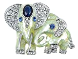 Alilang Swarovski Crystal Elements Sapphire Eyed Pearlescent Paint Elephants Pin Brooch
