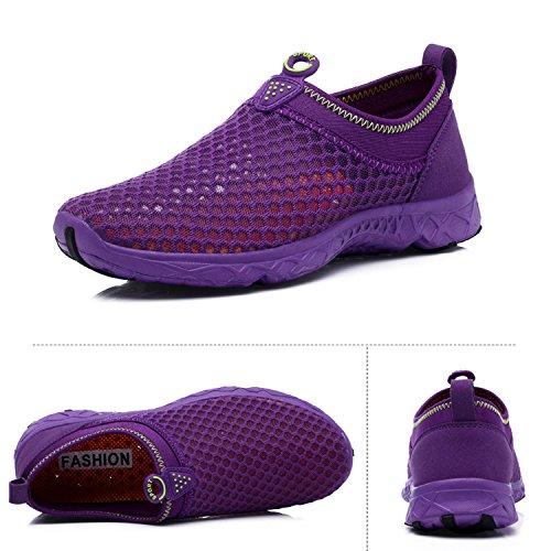 OUYAJI Shoes Driving Boating Sneakers Slip Water Mesh Sport Park on Beach Shoes Purple Women's Unisex Garden FrqEFCWwBx