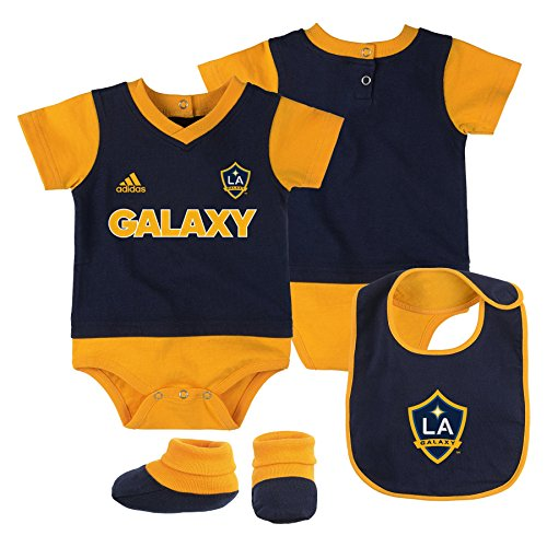 Outerstuff MLS Los Angeles Galaxy Boys Creeper, Bib & Booty Set, Dark Navy, 12 Months (Newborn Creeper Bib)