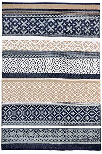 Lightweight Outdoor Reversible Durable Plastic Rug (8x10, Prime Navy/Taupe) - Environments Small Rug
