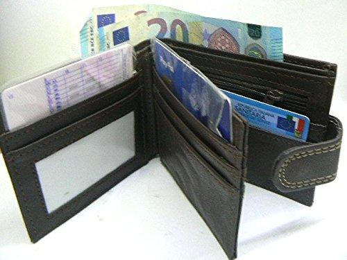 Herren Geldbörse aus weichem Kunstleder schwarz & dunkelbraun–Wallet mit vielen Taschen P. Kreditkartenfächer und cont. mit Reißverschluss für Münzen und doppelt scomporto Banknoten