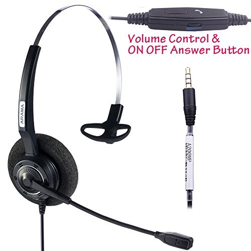 Arama Cell Phone Headset with Mic Boom for iPhone Mac Mobile Phone and Most Smartphones with 3.5mm Jack