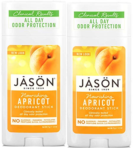 JĀSÖN Nourishing Apricot Deodorant Stick (Pack of 2) with Grapefruit Seed Extract, Apricot Kernal Oil and Vitamin E, No Aluminum, Phthalates or Propylene Glycol, 2.5 oz.