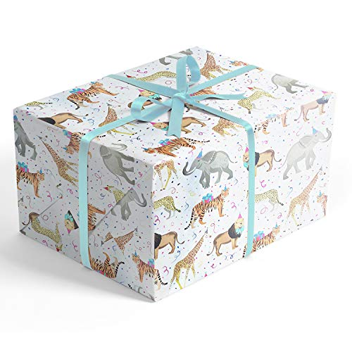 Safari Themed Gifts (Safari Party Folded Wrapping Paper, 2 feet x 10 feet Folded Gift wrap with Elephants, Lions, Cheetahs, Giraffes and Tigers, Wrap &)
