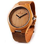 Shangdongpu Women Bamboo Wooden Watch with Genuine Leather band and Japan Quartz Movement, Fashion design