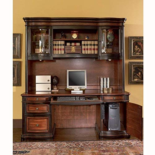 Coaster Home Furnishings Gorman Hutch with 2 Curved Glass Doors Espresso and Chestnut 2 Door Traditional Hutch