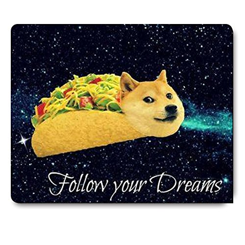 Apottwal Doge in Taco Chicken Rolls Flying Across The Galaxy Space Fllow Your Dream Amusing Mouse Pad