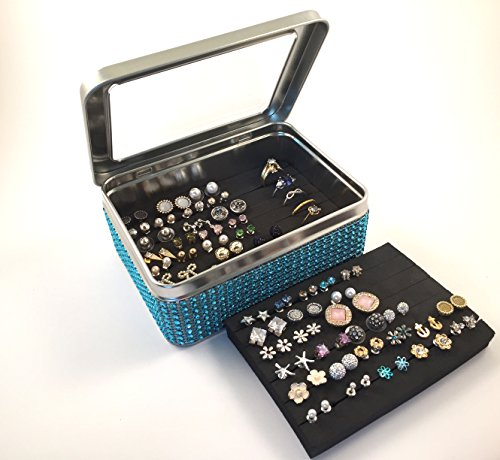 Tin Jewelry Box, Turquoise Dazzled Bling, Earring Holder,...