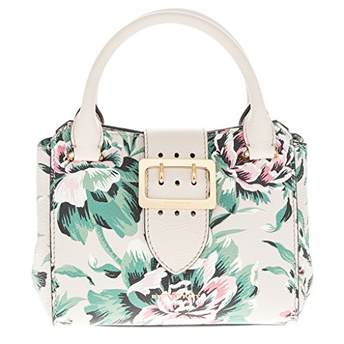 Burberry Women's Small Buckle Peony Print Tote Emerald