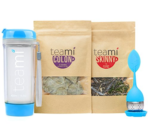 - Teami® 30-Day Detox Tea Starter Pack: All-Natural Teatox Kit with Teami Skinny & Teami Colon Cleanse Loose Leaf Herbal Teas (w/13.5oz Blue Tumbler and Infuser)