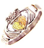 Beautiful! Sterling-silver Yellow-gold Black Hills Gold Women's Claddagh Ring Size 5