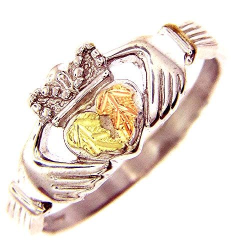 Beautiful! Sterling-silver Yellow-gold Black Hills Gold Women's Claddagh Ring Size 7