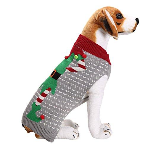 Christmas Holiday Dog Dress - UHeng Pet Dog Sweater Vintage Clothes Pompon Holiday Christmas Costume