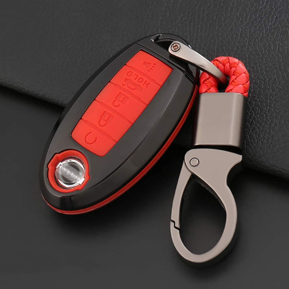 ontto for Nissan 5 Buttons Carbon Fiber Smart Remote Key Fob Cover Case Car Key Holder Key Protector Keychain Keyring Premium ABS Key Shell and Silicone Case Fit for Nissan Altima Maxima Black