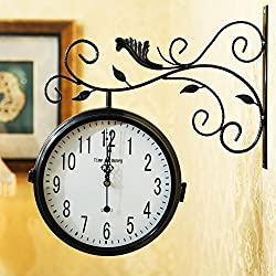 YYL European Garden Double Sided Wall Clock,Stylish Living Room Decorating Clock,Modern Minimalist Creative Silent Clock-G 14inch