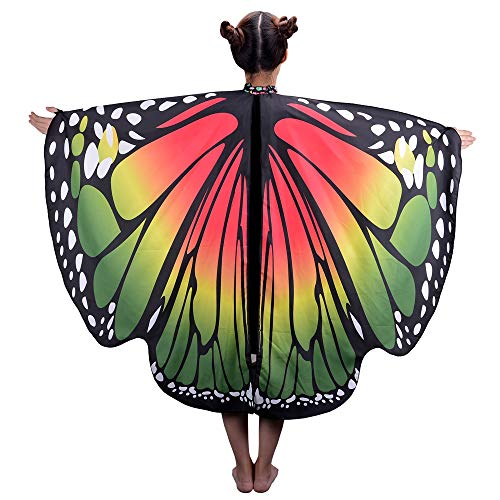 HITOP Kids Butterfly Wings Cape, Fairy Dance Clothing for Girls,Dress Up Party Costume Play Festival Accessary]()