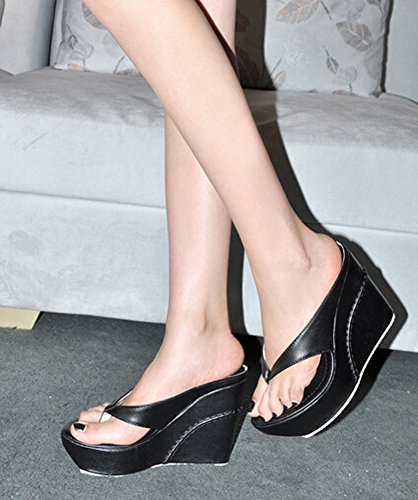 2015 High Heels Women Flip Flops Summer Sandals Platform Wedges Slippers Girl's Fashion Beach Shoes schwarz