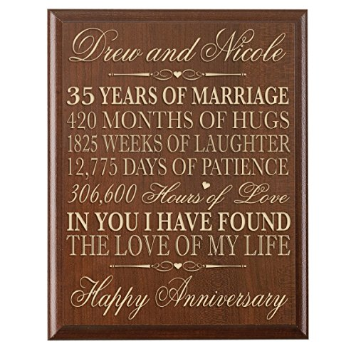 Personalized 35th Wedding Anniversary Gift for Couple, Custom Made 35th Anniversary Gifts for Her,35th Wedding Anniversary Gifts for Him 12 Inches Wx 16 Inches H (Cherry) by LifeSong Milestones