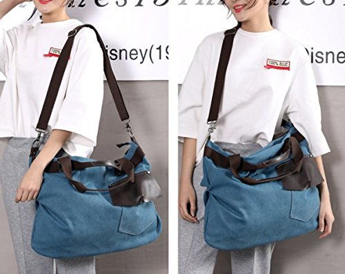 27520ad3f2c8b Amazon.com  xiaoxiongmao 2017 Large Pocket Casual Women s Shoulder Cross  body Handbags Canvas Leather Bags canvas tote bag (style 2