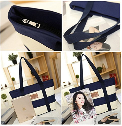 Women's Canvas Cotton Tote Bag Large Capacity Stripe Handbag Casual Shoulder Bag Shopping Bag with Small Purse for School Work Travel (Blue) by Gupiar (Image #5)