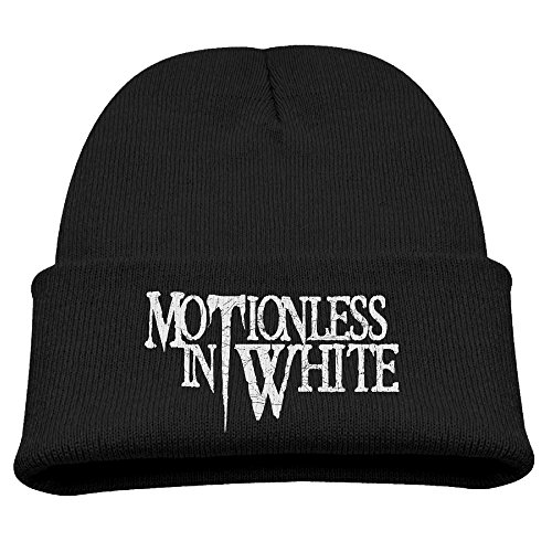 (Youth Boys Cashmere Hat Slouchy Beanie Winter Motionless In White Gothic Metal Band Skull Cap BobbleHat Cap)