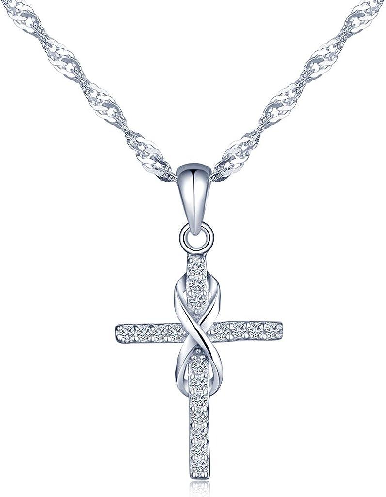 Collar para mujer y chica Infinite U, diseño clásico de una cruz con el símbolo del infinito, plata de ley 925 con incrustaciones de circonita, regalo de cumpleaños o Navidad