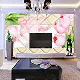 Buggy TV background wall seamless non-woven fabric antimicrobial moisture-proof fire wallpaper , picture color