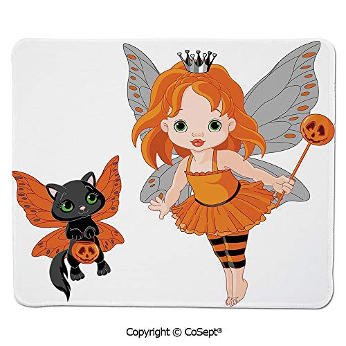 Non-Slip Rubber Base Mousepad,Halloween Baby Fairy and Her Cat in Costumes Butterflies Girls Kids Room Decor Decorative,for Computer,Laptop,Home,Office & Travel(7.87